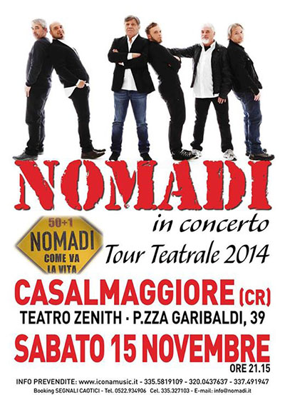 Nomadi in concerto, tour teatrale 2014 - Casalmaggiore
