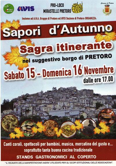 Sapori d'Autunno, Sagra Itinerante a Pretoro (CH)