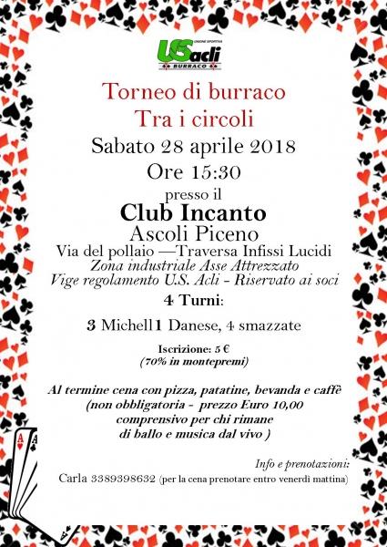 Torneo di burraco al Club Incanto Il 28 aprile alle 15,30