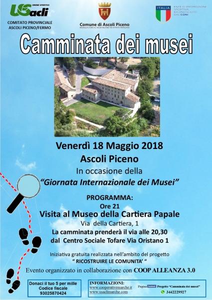 Venerdì 18 maggio una 'Camminata dei musei' con interssanti novità