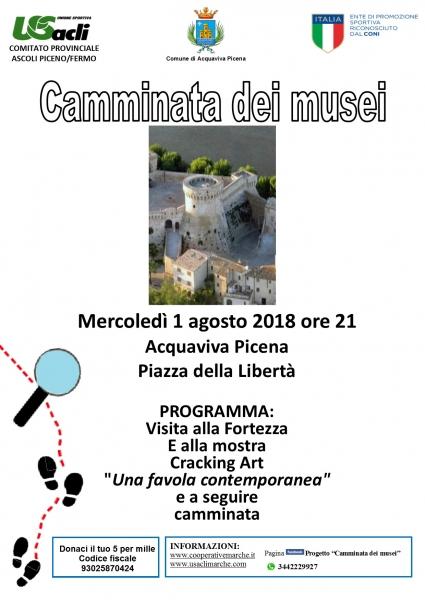 Secondo appuntamento ad Acquaviva Picena col progetto 'Camminata dei musei' Si visiteranno la fortezza e la mostra Cracking Art