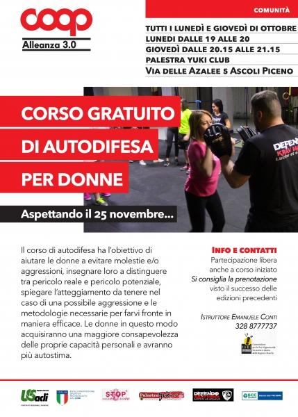 Al via il quinto corso gratuito di autodifesa Ad Ascoli Piceno si parte il primo ottobre